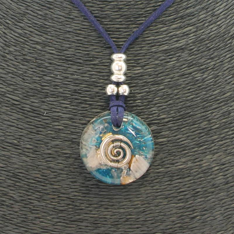 Collar Orgon Espiral Azul (3,2 cm Ajustable)